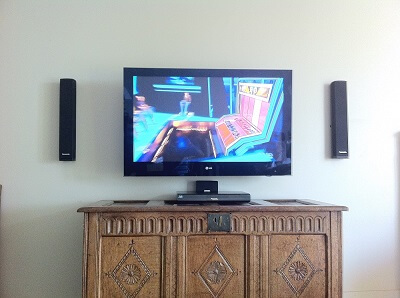 speakers and tv installation on a gib wall with internal cabling